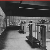 A photograph of the Japanese print exhibition Frank Lloyd Wright