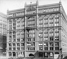The Rookery Building exterior, photographed ca. 1891