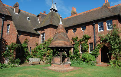 The east façade of William Morris's Red House, Bexleyheath, London