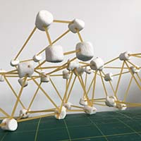 spaghetti and marshmellow structure