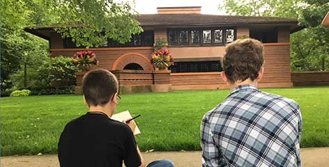Campers sketching Heurtley House
