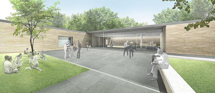 The new plaza will link the existing properties to the visitor center while also providing public space for lectures and other programming.