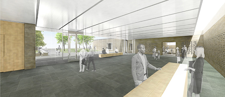 The reception area will include audio-visual programming.